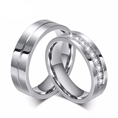High Quality Stainless Steel Couple Engagement/Wedding Ring - Direct Discount Outlet