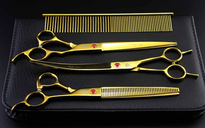"8"" Gold Professional Pet Grooming Scissors Set - Direct Discount Outlet"