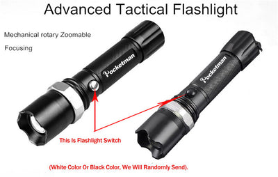 Waterproof Led Flashlight 3800 Lumens Zoomable Torch for Camping Hiking - Direct Discount Outlet