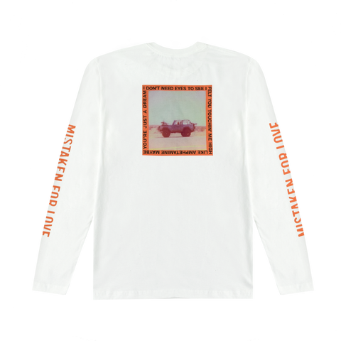 MISTAKEN FOR LOVE JEEP POLAROID WHITE LONG SLEEVE T SHIRT