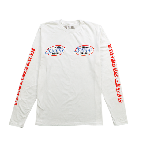 FLAMES WHITE LONG SLEEVE T SHIRT