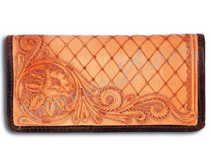 American Darling Wyoming Tooled Leather Wallet - Tan
