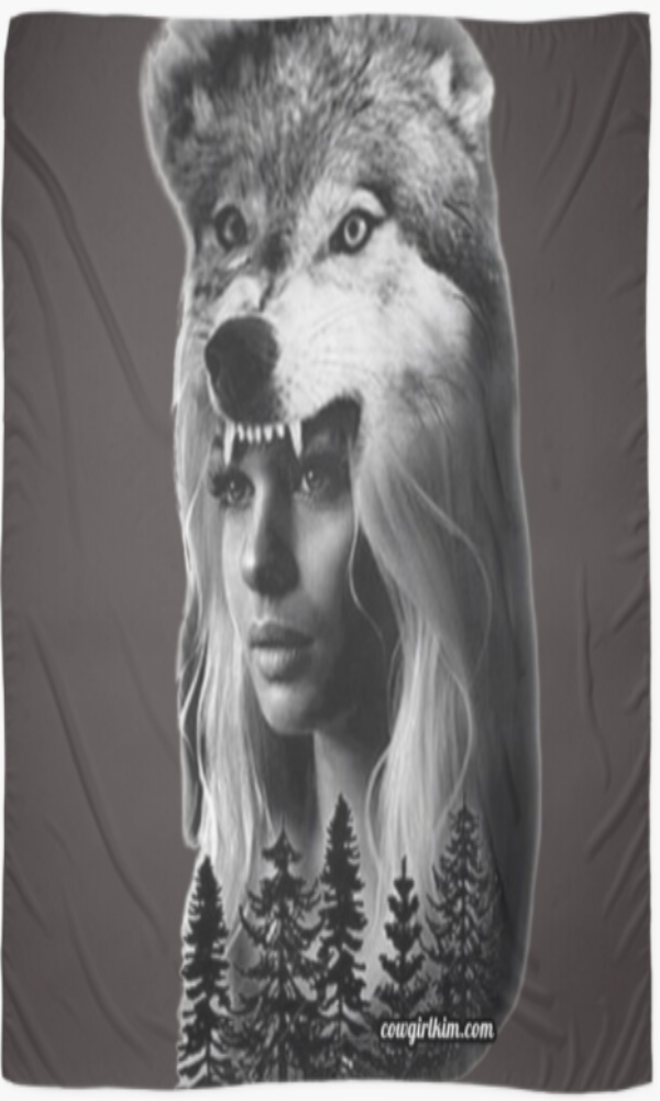 "Cowgirl Kim Spirit of the Wolf Scarf - Large 55"" X 55"""