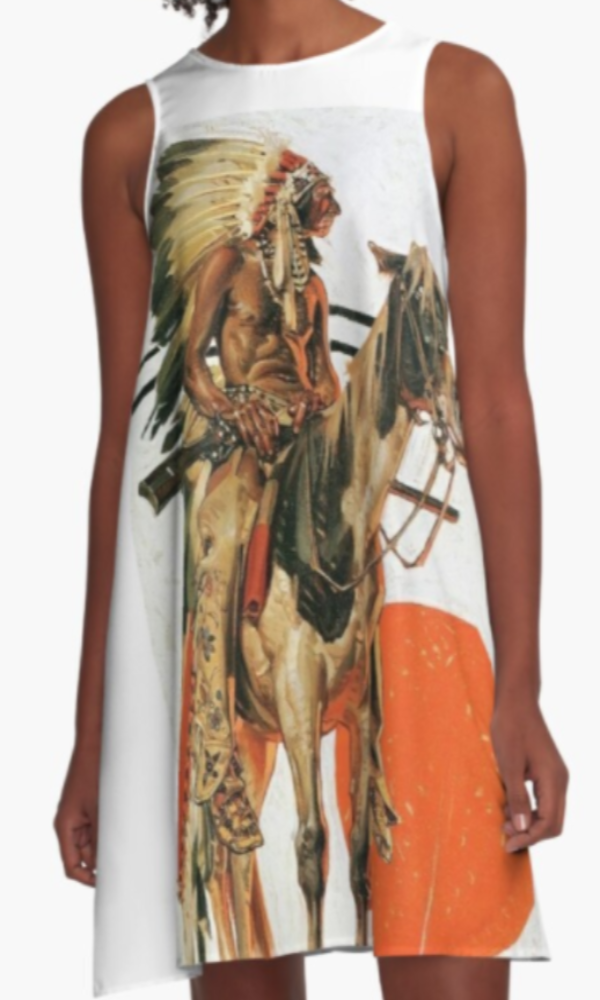 Cowgirl Kim Indian and His Horse A-Line Dress
