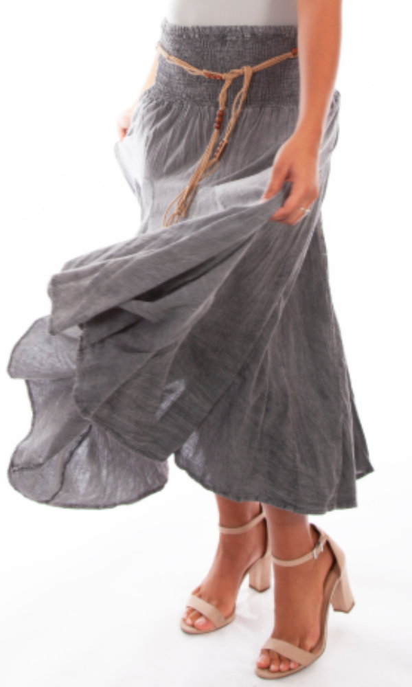 Scully Gathered Maxi Skirt - Charcoal