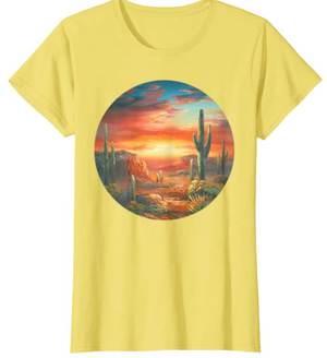 Cowgirl Kim Desert Sunset Tee - 2 Colors - Yellow or Heather Blue