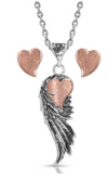 Montana Silversmith Rose Gold Heart Strings Feather Jewelry Set