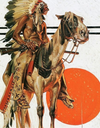 "Cowgirl Kim Indian and His Horse Scarf - Large 55"" X 55"""