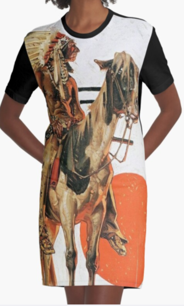Cowgirl Kim Indian and His Horse Graphic Tee Dress - Large Only