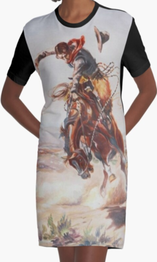 Cowgirl Kim Vintage Buckin' Bronc Graphic Tee Dress