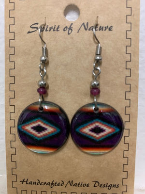 Cowgirl Kim Round Navajo Dangle Earrings - Purple