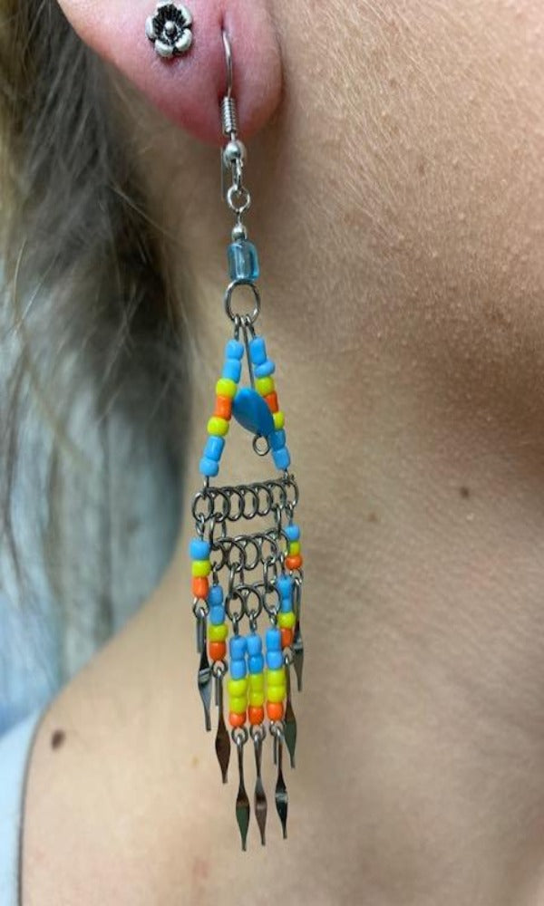 Cowgirl Kim Large Boho Beaded Dangle Earrings - Turquoise & Yellow