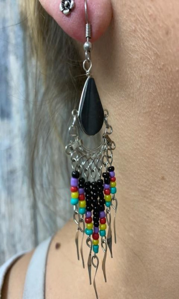 Cowgirl Kim Yavapai Dangle Earrings - Black & Purple
