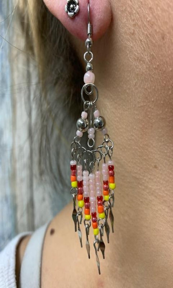 Cowgirl Kim Large Boho Beaded Dangle Earrings - Pink & Red