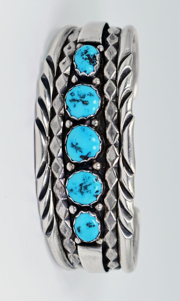 Vicki Orr Vintage Kingman Turquoise 5 Stone Sterling Silver Cuff - Cowgirl Kim