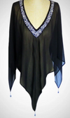 Cowgirl Kim Beaded V-Neck Poncho~ Black- one size fits all - Cowgirl Kim