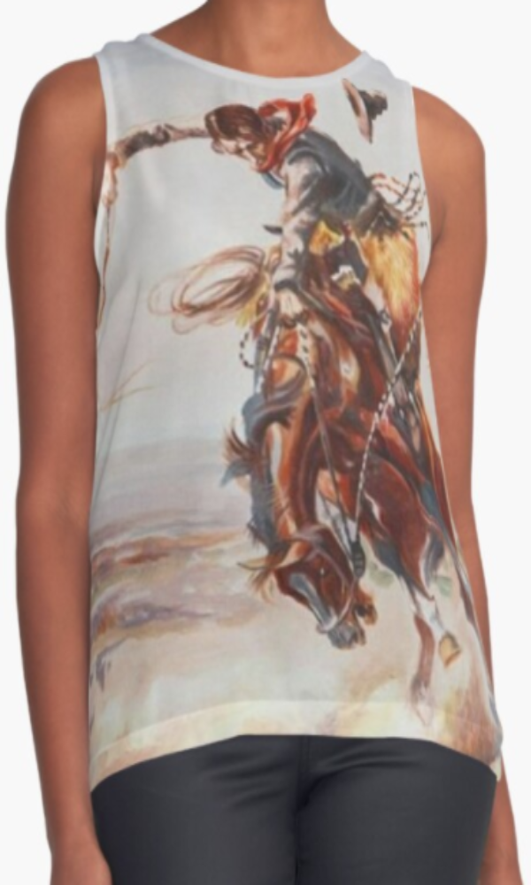 Cowgirl Kim Vintage Buck'n Bronc Sleeveless Top