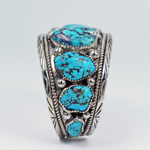 Vicki Orr Vintage 9 Stone Kingman Nugget Turquoise Sterling Silver Cuff - Cowgirl Kim