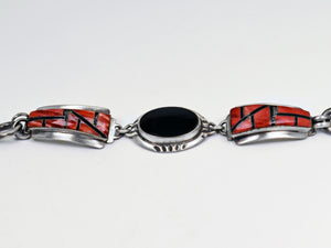Vicki Orr  Vintage Onyx and Spiny Oyster Inlay Watch Bracelet - Cowgirl Kim