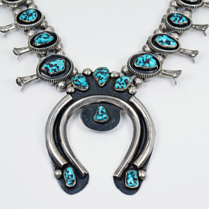 Vicki Orr Vintage Kingman Turquoise Nugget Squash Blossom Necklace - Cowgirl Kim