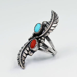 Vicki Orr Vintage Sleeping Beauty Turquoise and Coral Feather Statement Ring - Cowgirl Kim