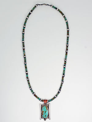 Vicki Orr Fox Turquoise and Navajo Pearl Beaded Necklace w/ Vintage Tibetan Turquoise Pendant - Cowgirl Kim