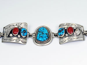Vicki Orr Vintage Kingman Turquoise and Coral Watch Bracelet - Cowgirl Kim