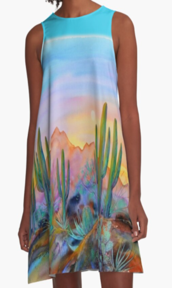 Cowgirl Kim Watercolor Desert A-Line Dress
