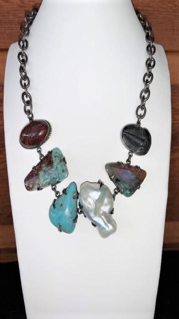 Vicki Orr Fossil and Turquoise Necklace - Cowgirl Kim