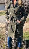 NuVintage Double-Breasted Trench Coat~ Army Green Acid Wash - Cowgirl Kim