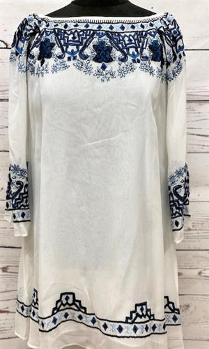 Vintage Collection Caroline White Embroidered Peasant Top - Cowgirl Kim