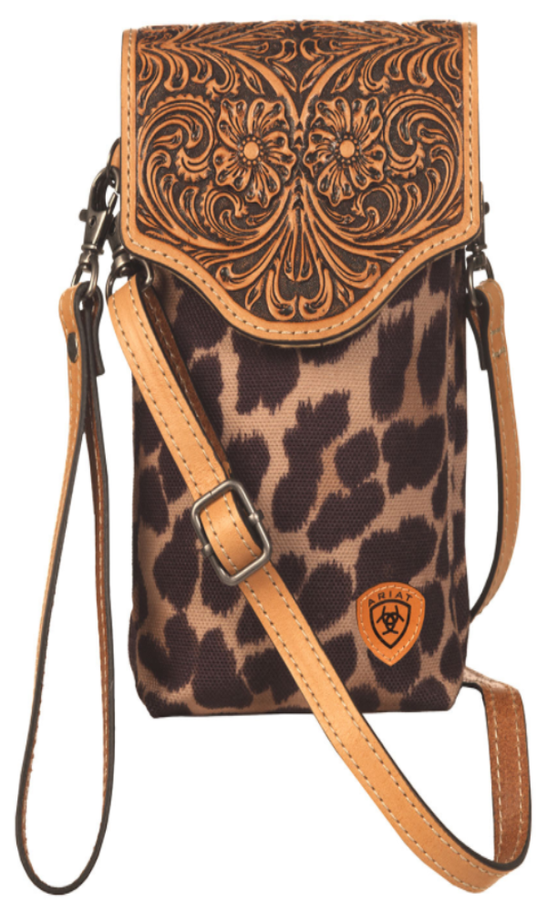 Ariat Tooled Leather and Leopard Cell Case Crossbody Bag