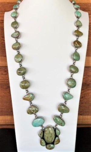 Sunwest Jewelry~ Unique Green Turquoise Long Statement Necklace - Cowgirl Kim