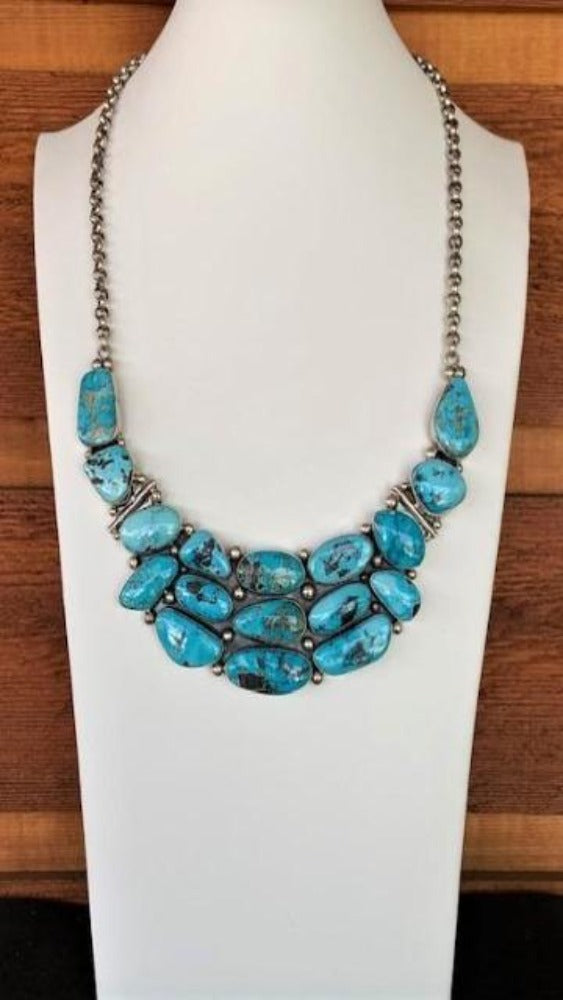 Carico Lake and Sterling Silver Bib Statement Necklace