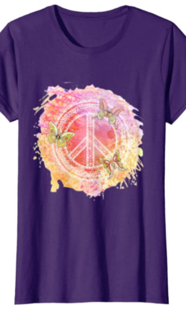 Cowgirl Kim Peace and Butterflies Tee