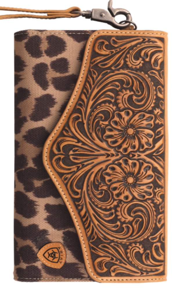 Ariat Tooled Leather and Leopard Wallet/Clutch