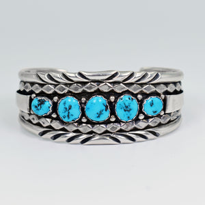 Vicki Orr Vintage Kingman Turquoise 5 Stone Sterling Silver Cuff