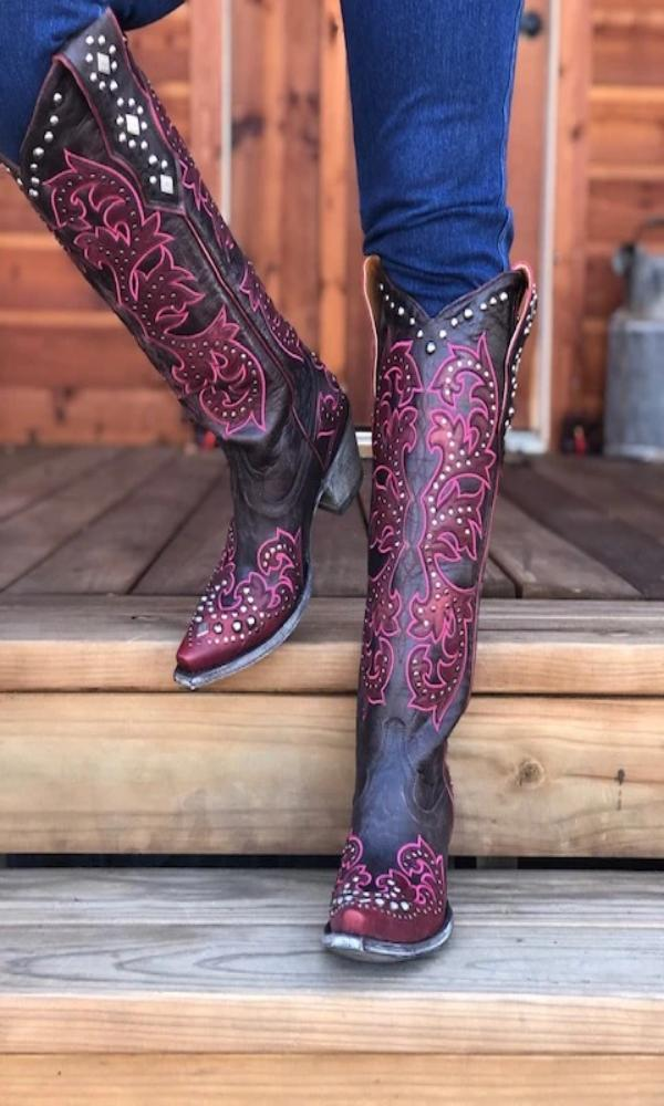 Old Gringo Ilona Tall Boots~ Chocolate w/Red and Hot Pink Stitching - Cowgirl Kim
