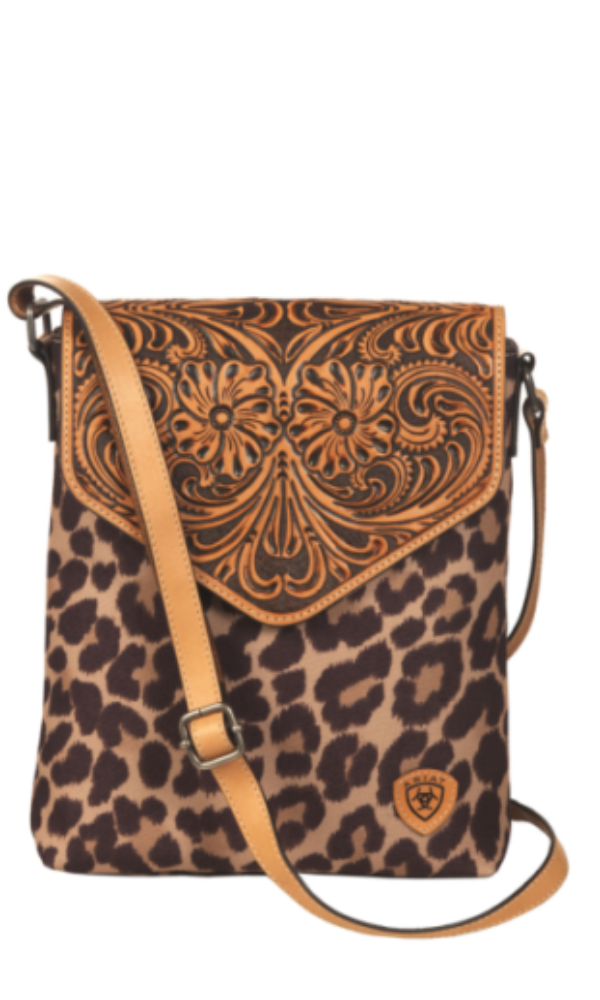 Ariat Tooled Leather and Leopard Crossbody Bag