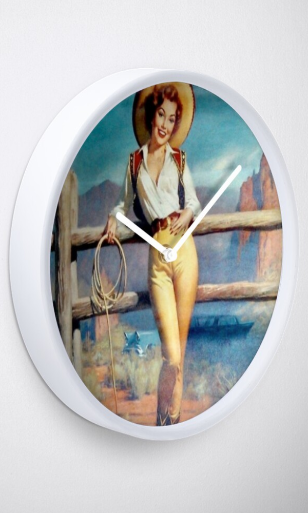 Cowgirl Kim Western Vintage Cowgirl Clock - In Stock