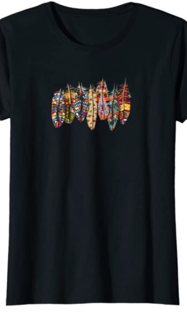 Cowgirl Kim Painted Warrior Feathers Tee