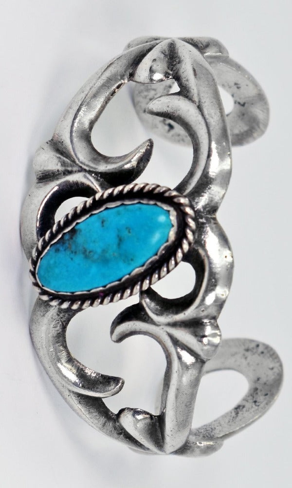 Vicki Orr Vintage Kingman Turquoise Sand Cast Sterling Silver Cuff