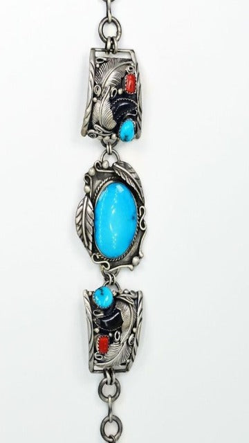 Vicki Orr Vintage Kingman Turquoise, Coral, and Bear Claw Watch Bracelet - Cowgirl Kim