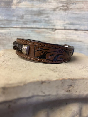 Cowboy Collectibles Tooled Horsehair Leather Bracelet - Brown
