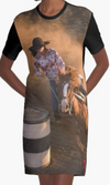 Cowgirl Kim Barrel Racer Graphic Tee Dress - Large Only