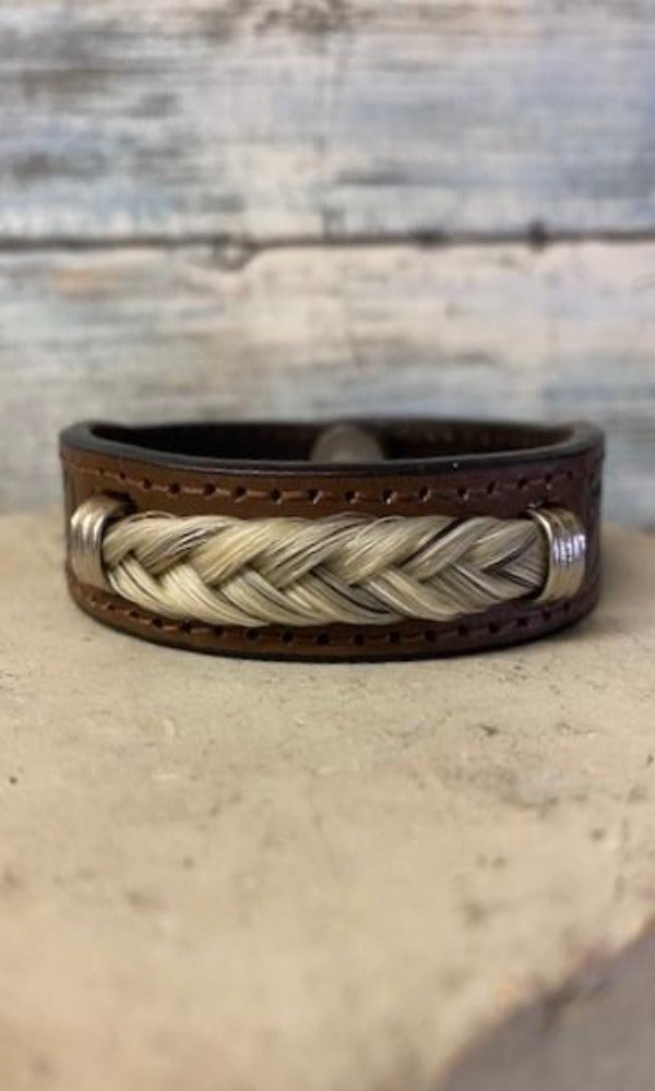 Cowboy Collectibles Tooled Horsehair Leather Bracelet - Light Grey