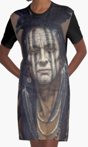 Cowgirl Kim Crow Indian Graphic Tee Dress - Large Only