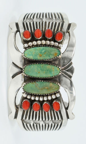 Vicki Orr Vintage Fox Turquoise and Coral Cuff