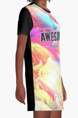 Cowgirl Kim Be Awesome Today Graphic Tee Dress - Large Only