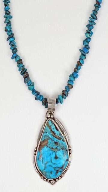 Vicki Orr  Vintage Stormy Mountain Turquoise Pendant & Kingman Turquoise Nugget Beaded Necklace - Cowgirl Kim